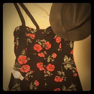 Forever 21- Black Floral Buttoned Mini Dress